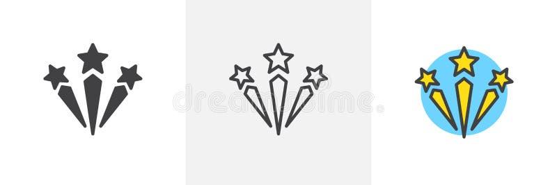 Verschiedene Artikonen der Feuerwerke lizenzfreie abbildung
