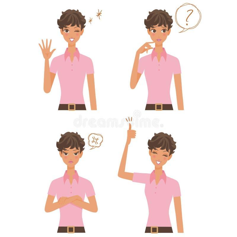 Verschiedene Ausdrücke der Frau vektor abbildung
