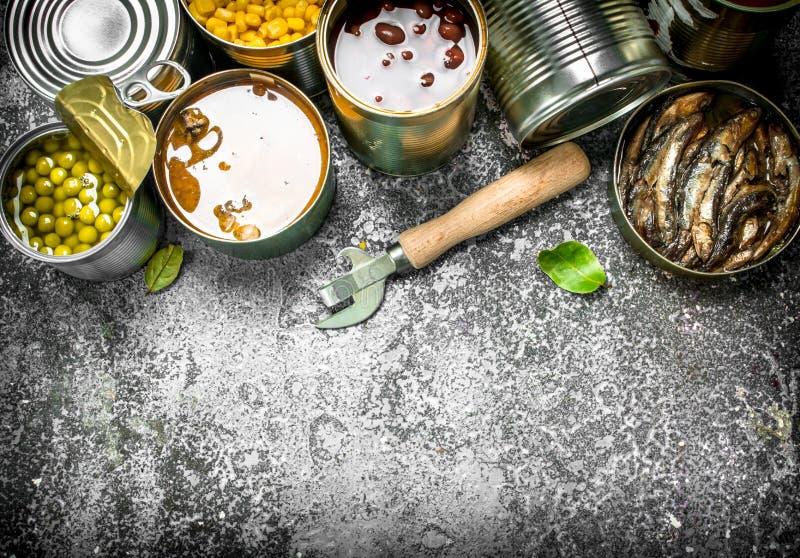 Verschiedene in Büchsen konservierte Nahrungsmittel mit Fleisch, Fischen, Gemüse und Früchten in den Blechdosen stockfoto