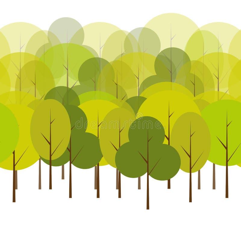 Verschiedene Baum-natürliches nahtloses Muster lizenzfreie abbildung