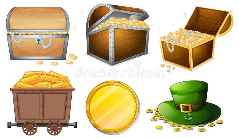 Verschiedene Behälter gefüllt mit Gold lizenzfreie abbildung