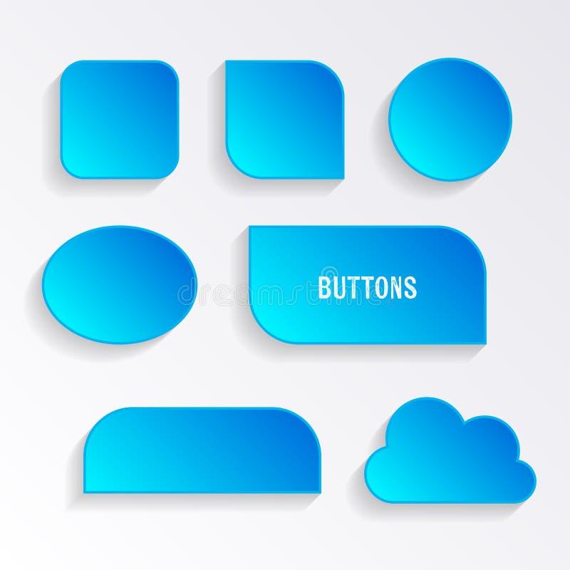 Verschiedene blaue Knöpfe mit Schatten stock abbildung