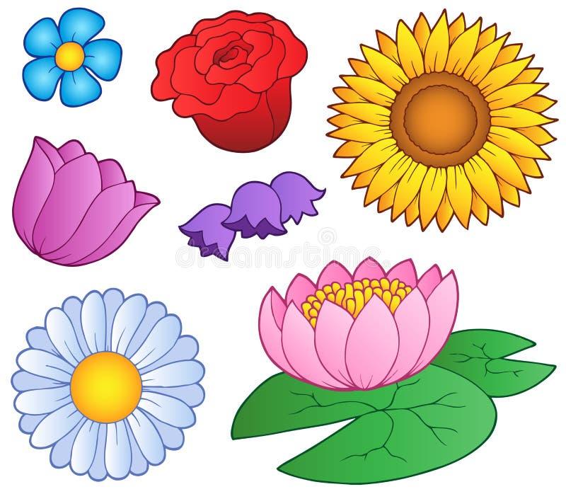 Verschiedene Blumen eingestellt lizenzfreie abbildung