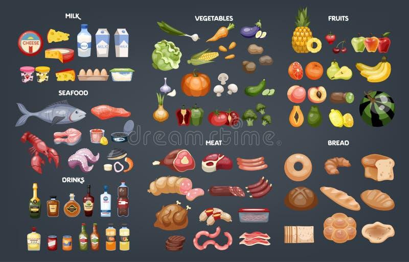 Verschiedene Brottypen Sammlung verschiedene Mahlzeit, Fische und Fleisch vektor abbildung