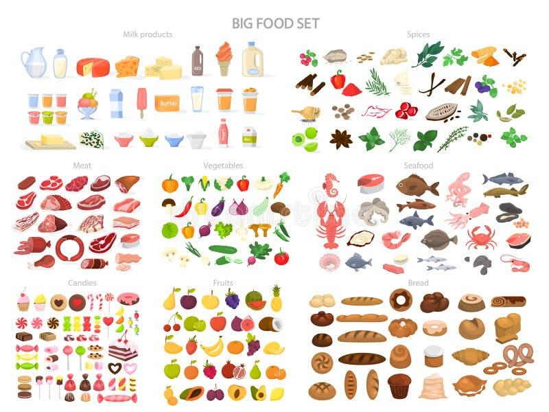 Verschiedene Brottypen Sammlung verschiedene Mahlzeit, Fische und Fleisch lizenzfreie abbildung