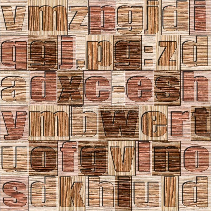 Verschiedene Buchstaben auf Hintergrund Gesprengtes hölzernes Muster der Eichen-Nut stock abbildung