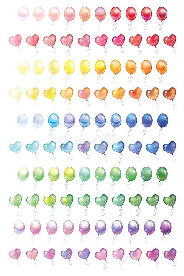 100 verschiedene bunte Ballone eingestellt lizenzfreie abbildung