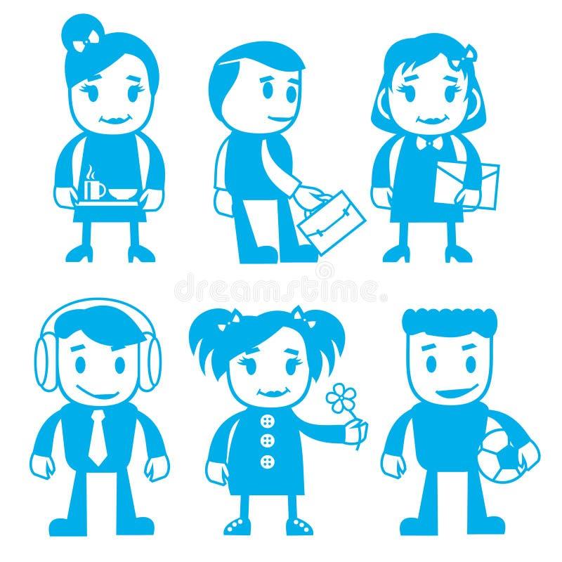 Verschiedene Charaktere in der blauen Farbe stock abbildung