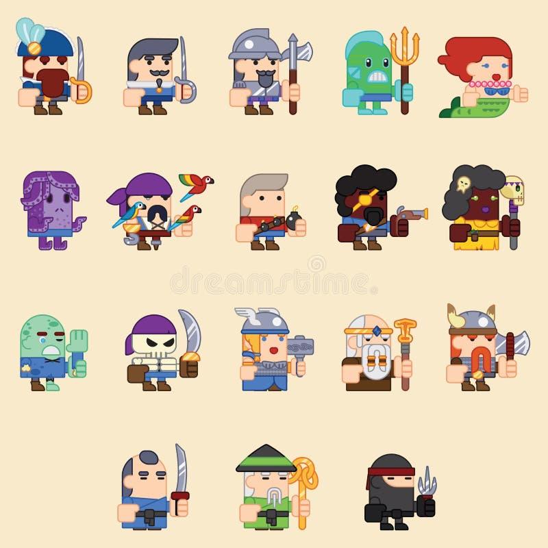 Verschiedene Charaktere für das Spiel zombi, Skelett, Krieger, monstors, mages sprites Flache Illustrationen des Vektors stock abbildung