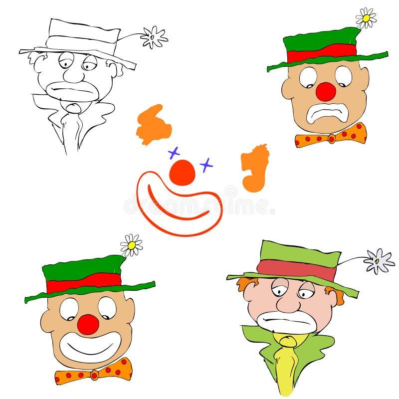 Verschiedene Clowne stock abbildung