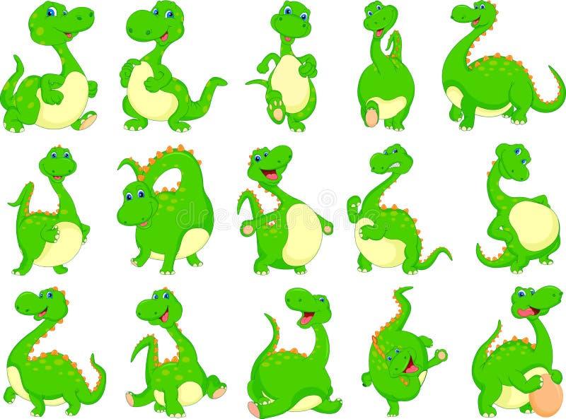 Verschiedene Dinosaurierkarikatur lizenzfreie abbildung