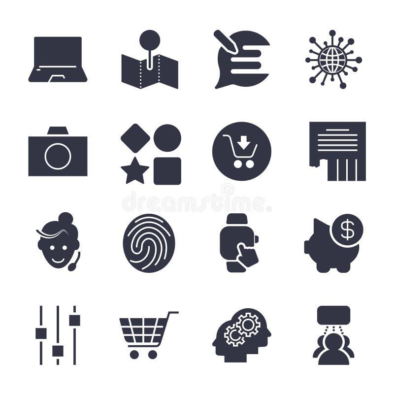 Verschiedene einfache Ikonen f?r apps, Programme, Standorte und anderen univ stock abbildung