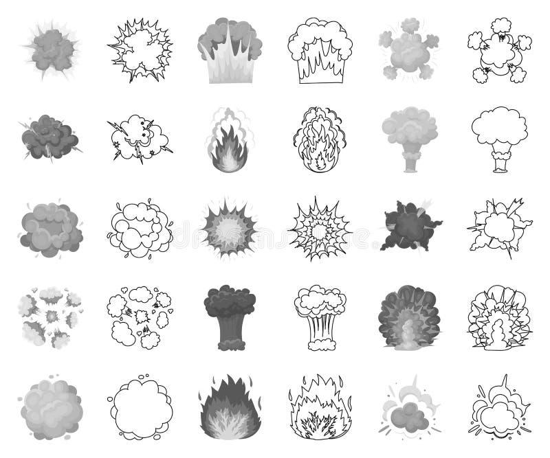 Verschiedene Explosionen einfarbig, Entwurfsikonen in gesetzter Sammlung für Entwurf Blitz- und Flammenvektorsymbol-Vorratnetz lizenzfreie abbildung