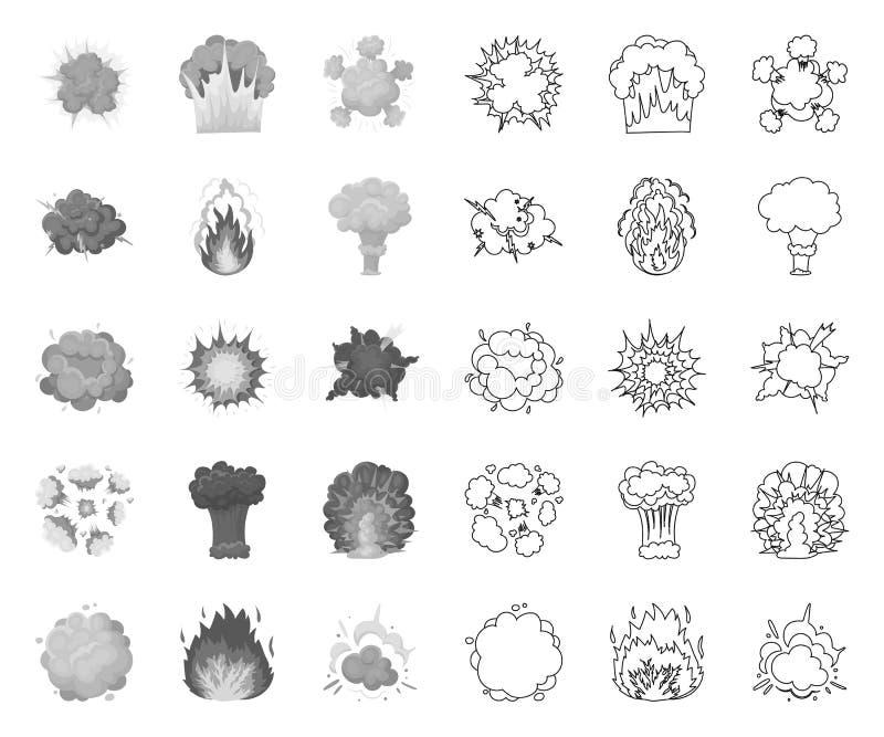 Verschiedene Explosionen mono, Entwurfsikonen in gesetzter Sammlung für Entwurf Blitz- und Flammenvektorsymbol-Vorratnetz stock abbildung
