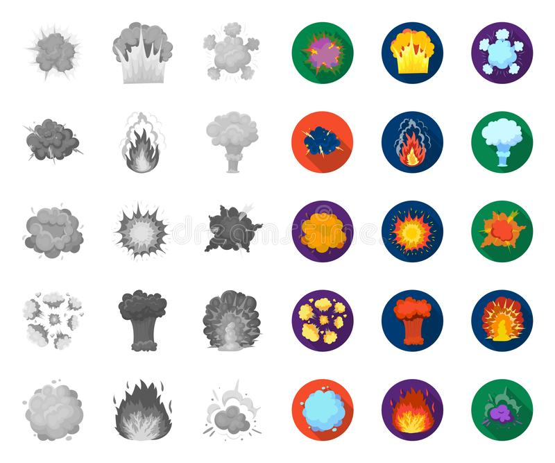 Verschiedene Explosionen mono, flache Ikonen in gesetzter Sammlung für Entwurf Blitz und Flamme vector Netzillustration des Symbo lizenzfreie abbildung