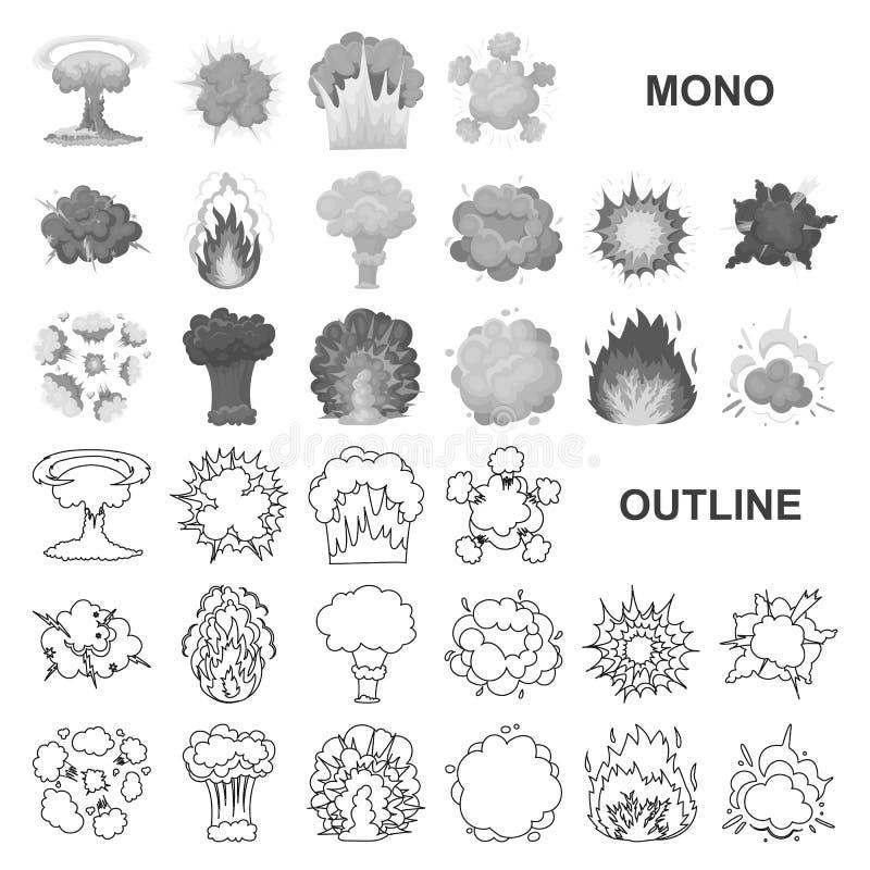 Verschiedene Explosionen monochrom Ikonen in gesetzter Sammlung für Entwurf Blitz und Flamme vector Netzillustration des Symbols  vektor abbildung