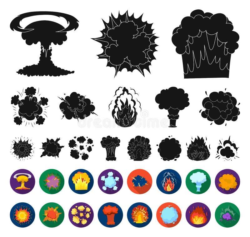 Verschiedene Explosionen schwarz, flache Ikonen in gesetzter Sammlung für Entwurf Blitz und Flamme vector Netzillustration des Sy lizenzfreie abbildung