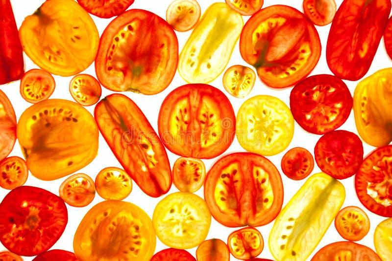 Verschiedene Farbe und Formen von Tomaten-Scheiben lizenzfreies stockbild