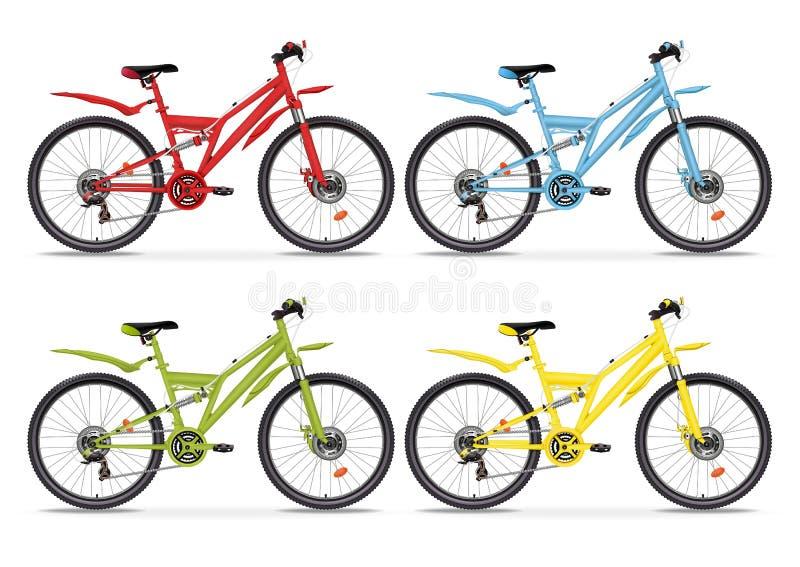 Verschiedene Farben der gesetzten realistischen Fahrräder des Vektors bunten Rotes, blaues, grünes und gelbes metallisches Fahrra vektor abbildung