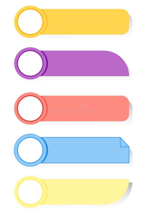 Verschiedene Farben des Papiers für den Textsammlungsvektor Der Plan der Anzeige wird auf dem transparenten lokalisiert gesetzt lizenzfreie abbildung