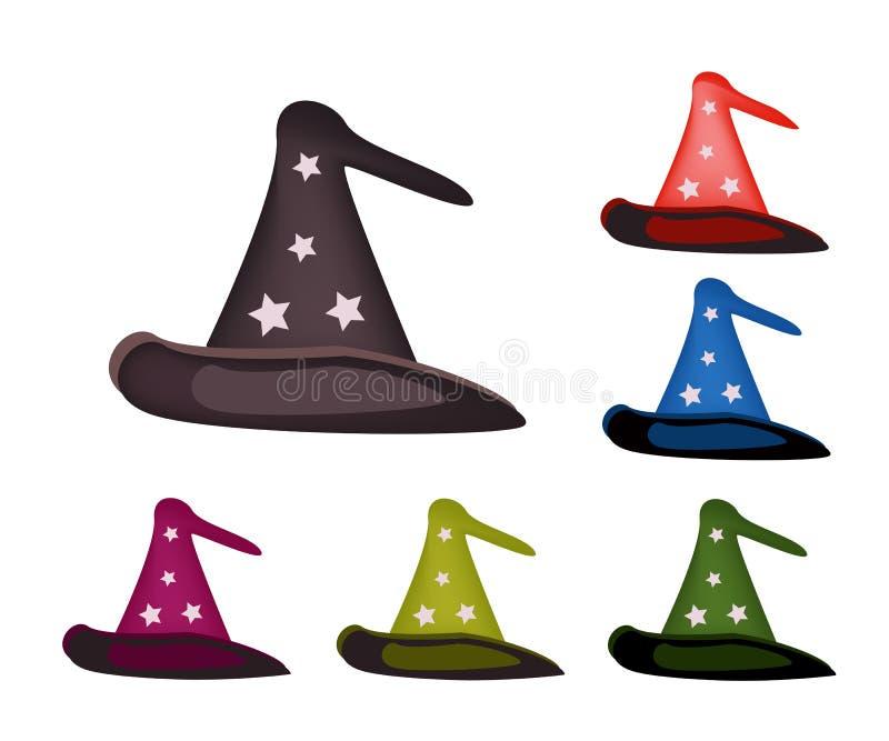 Verschiedene Farben des reizenden Hexen-Hutes auf weißem Hintergrund stock abbildung