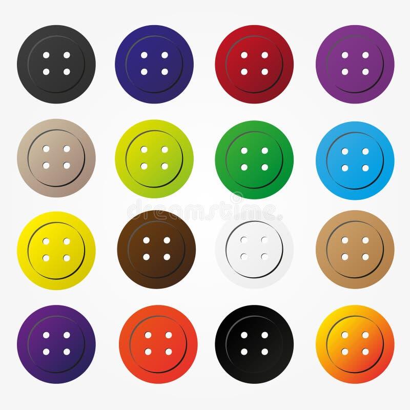 Verschiedene Farbknöpfe für die Kleidungsikonen eingestellt vektor abbildung