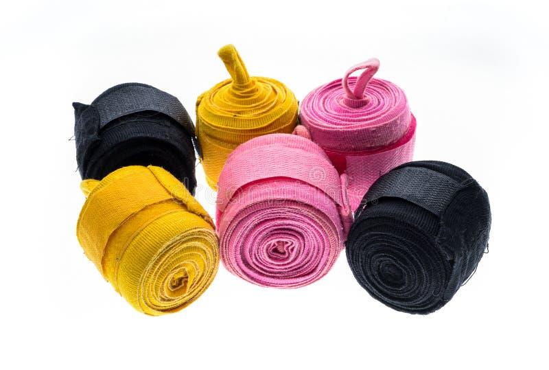 Verschiedene Farbverpackenverpackungen oder -verbände lokalisiert auf Weiß lizenzfreies stockbild