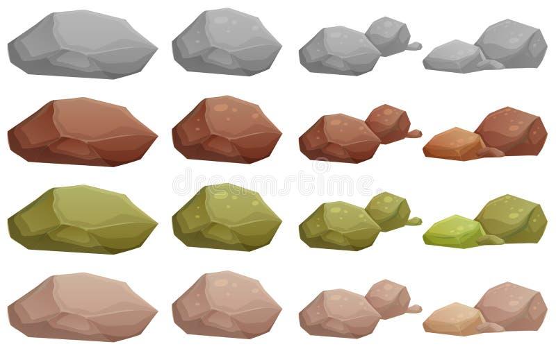 Verschiedene Felsen stock abbildung