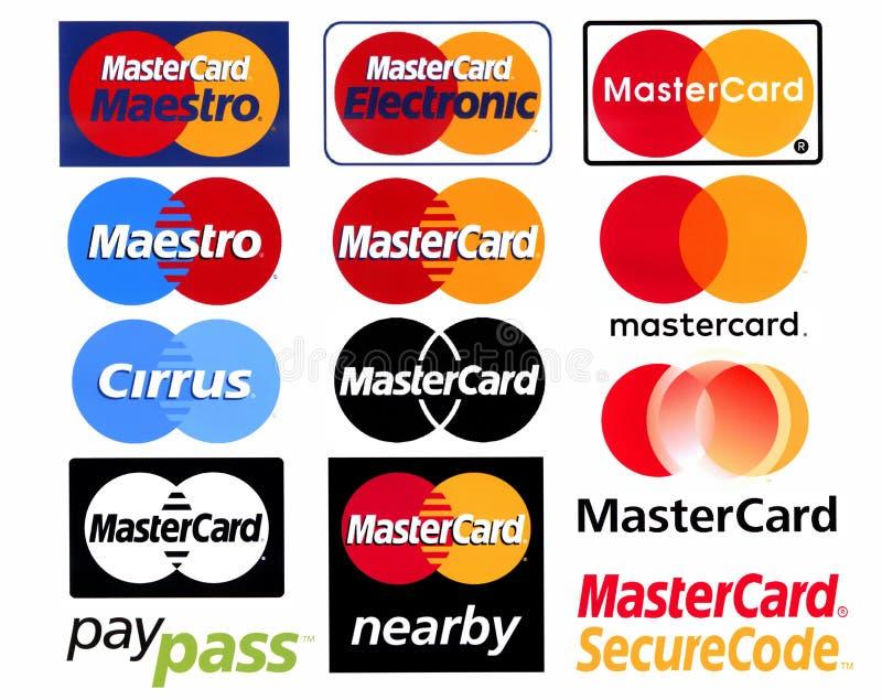 Verschiedene Firmenzeichen des Zahlungssystems MasterCard vektor abbildung