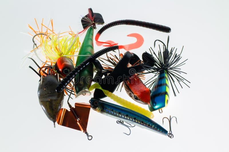 Verschiedene Fischereiköder stockbild