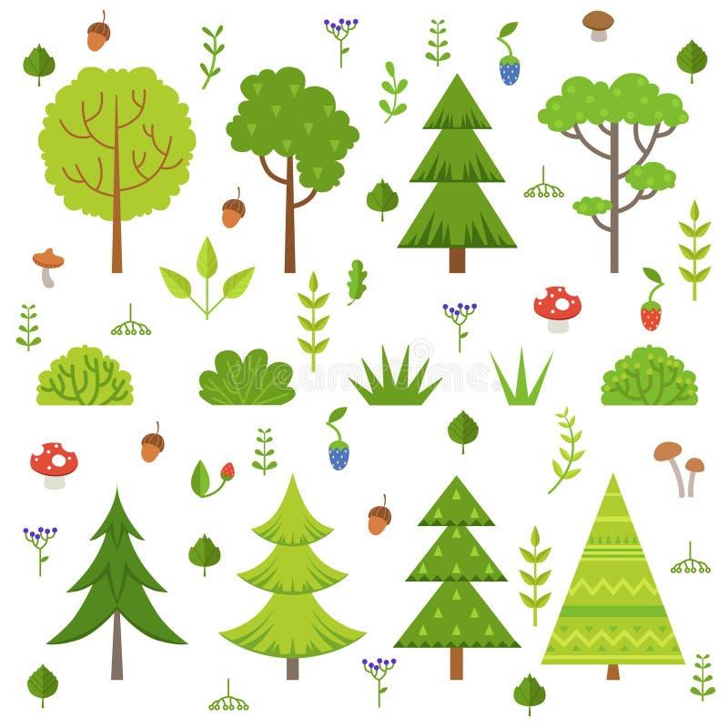 Verschiedene Forstpflanzen, Baumpilze und andere Florenelemente Karikaturvektor-Illustrationsisolat auf Weiß lizenzfreie abbildung