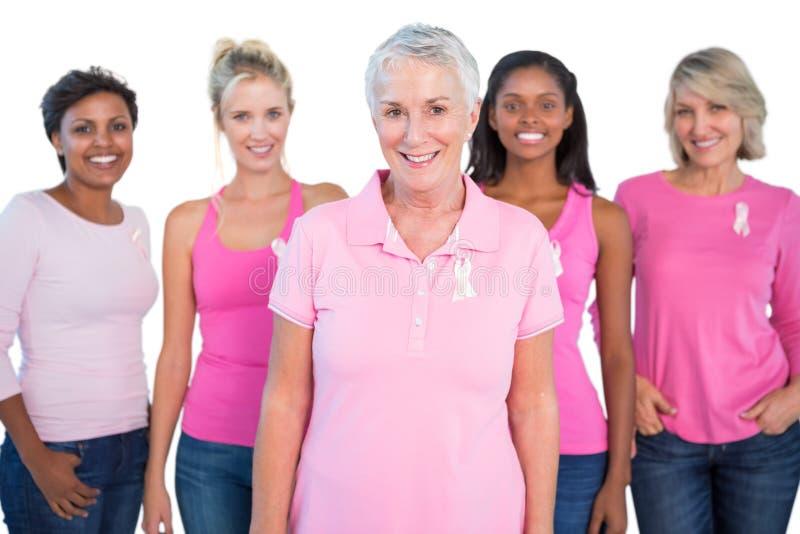 Verschiedene Frauengruppe, die rosa Spitzen und Brustkrebsbänder trägt stockfotografie