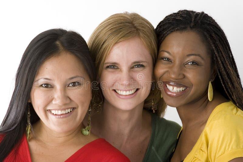Verschiedene Frauengruppe lokalisiert auf Weiß stockfoto