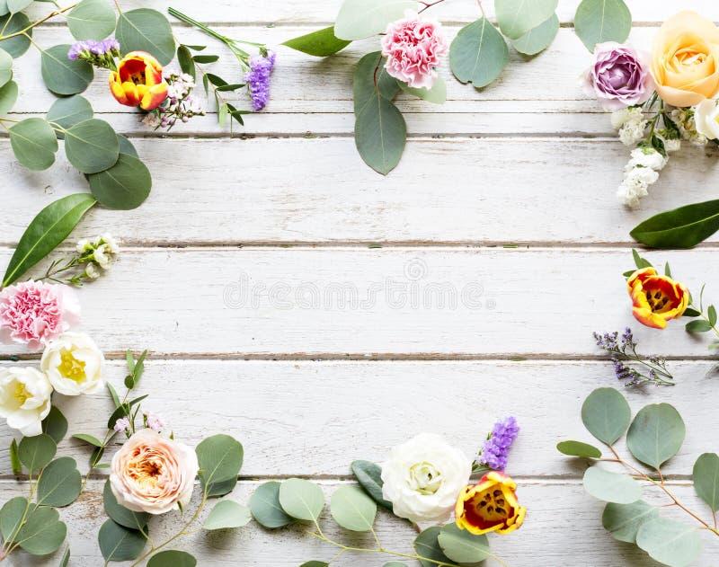 Verschiedene frische Blumen mit leerer Design-Raum-hölzernem Hintergrund lizenzfreie stockfotografie