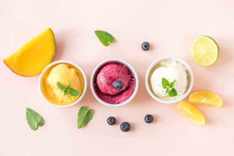 Verschiedene Frucht und Beere Eiscreme lizenzfreies stockbild