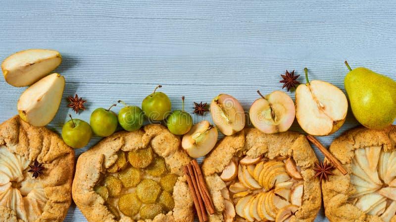 Verschiedene Fruchttörtchen verziert mit Gewürzen - Zimt- und Anissterne auf dem grauen konkreten Hintergrund Vegetarisches gesun lizenzfreie stockfotos