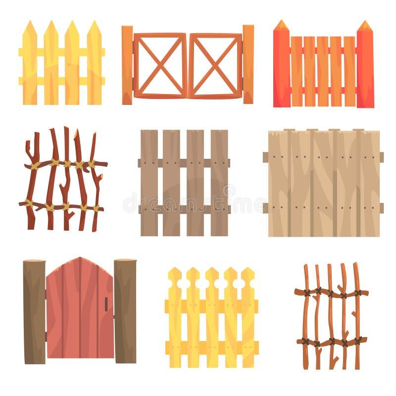 Verschiedene Gartenbretterzäune und -tore stellten, ländliche Heckenvektor Illustrationen ein lizenzfreie abbildung