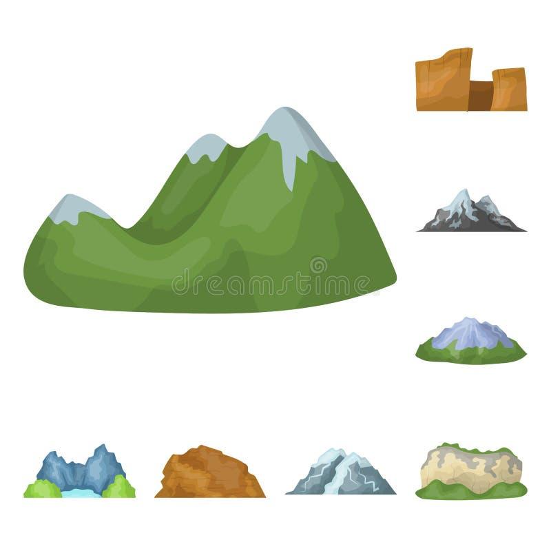 Verschiedene Gebirgskarikaturikonen in der Satzsammlung für Design Berge und Landschaftsvektorsymbolvorratnetz stock abbildung