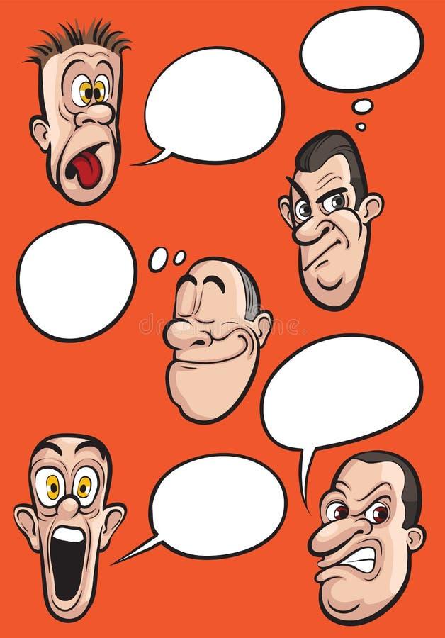 Verschiedene Gefühlgesichter mit Spracheballonvektorsatz stock abbildung