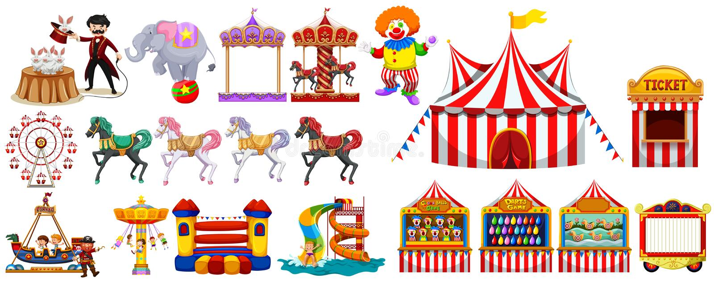 Verschiedene Gegenstände vom Zirkus lizenzfreie abbildung