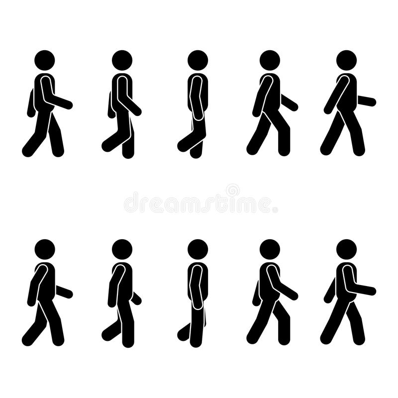 Verschiedene gehende Position der Mannleute Lagestockzahl Vector stehendes Personenikonensymbol-Zeichenpiktogramm auf Weiß vektor abbildung