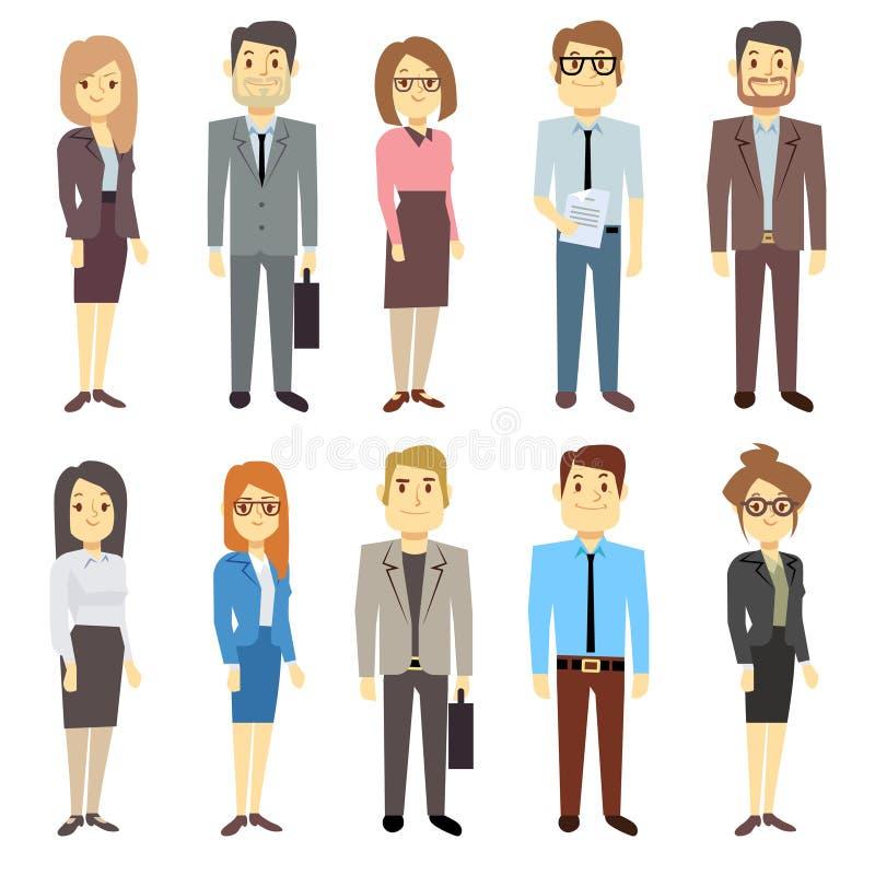 Verschiedene Geschäftsausstattungen der Geschäftsmanngeschäftsfrauangestelltvektorleutecharaktere vektor abbildung