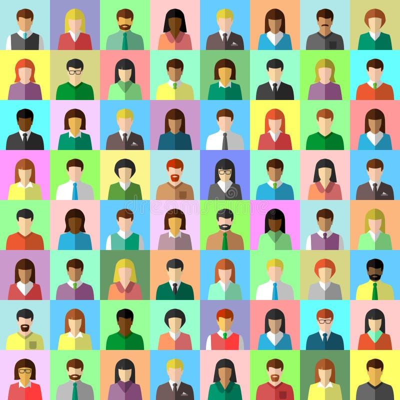 Verschiedene Geschäftsleute Collage im flachen Design lizenzfreie abbildung