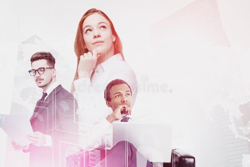 Verschiedene Geschäftsleute, digitale Schnittstelle lizenzfreie stockfotos