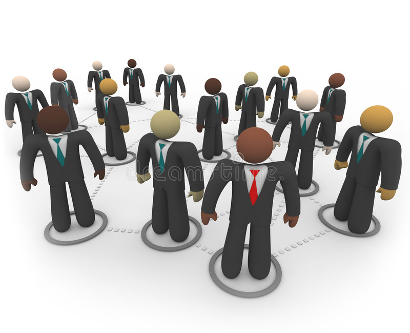 Verschiedene Geschäftsleute im Sozialnetz vektor abbildung