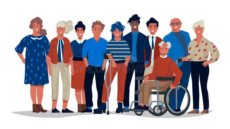 Verschiedene Gesellschaftsleute Gruppe verschiedene gemischtrassige und multikulturelle Leute, die zusammen stehen Zufällige Männ vektor abbildung
