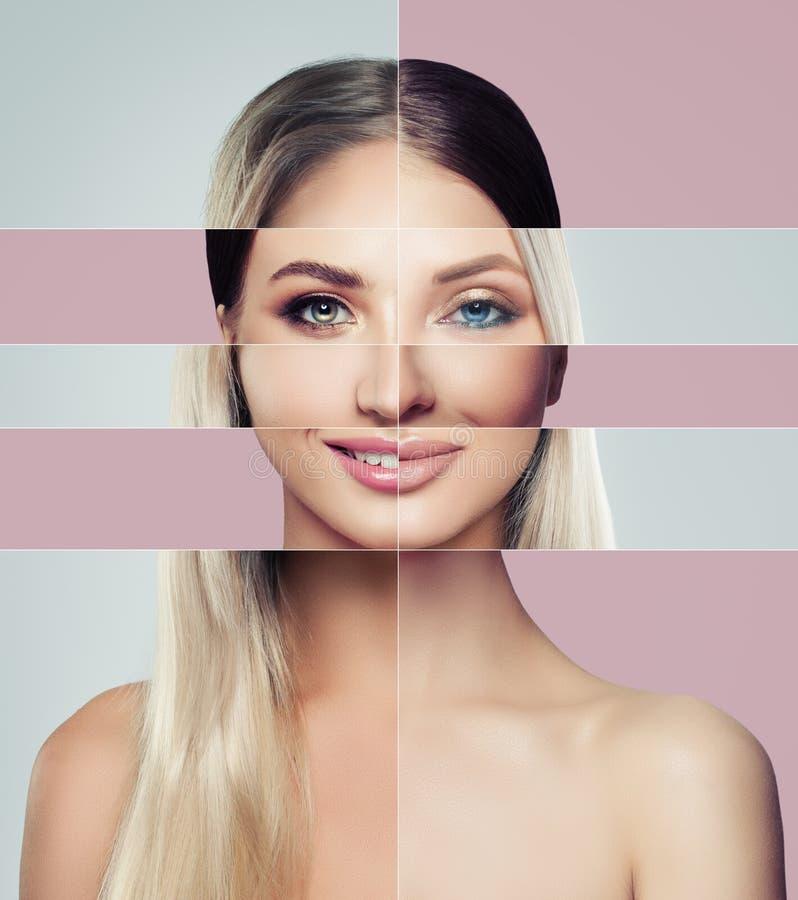 Verschiedene Gesichter der jungen Frau Getrennt auf Weiß lizenzfreie stockbilder