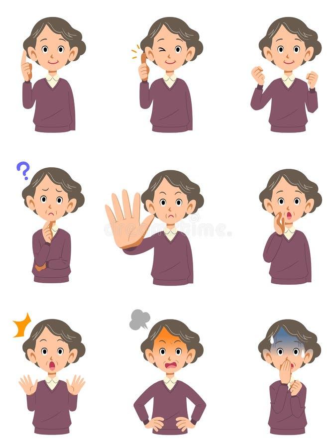 Verschiedene Gesichtsausdrücke einer älteren Frau stock abbildung