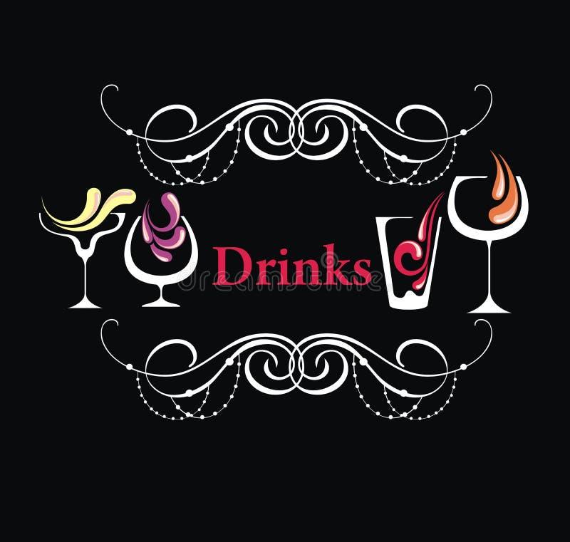 Verschiedene Getränke menü lizenzfreie abbildung
