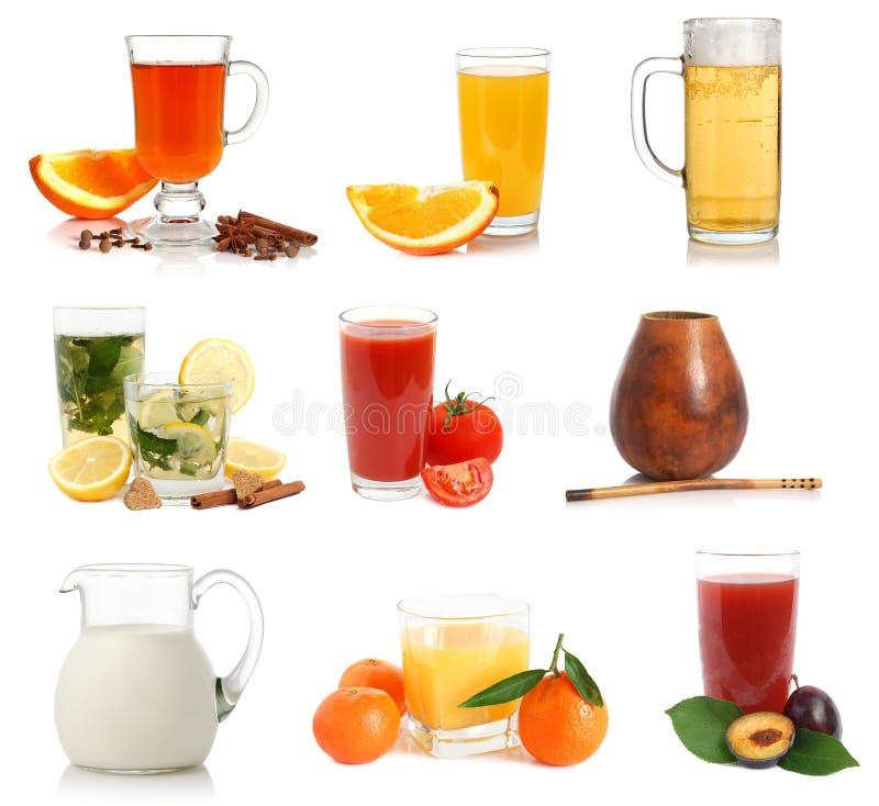Verschiedene Getränke und Cupproben stockfoto